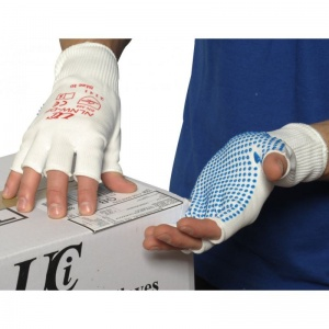 UCi Fingerless Nylon PVC-Dotted White Gloves NLNW-DF